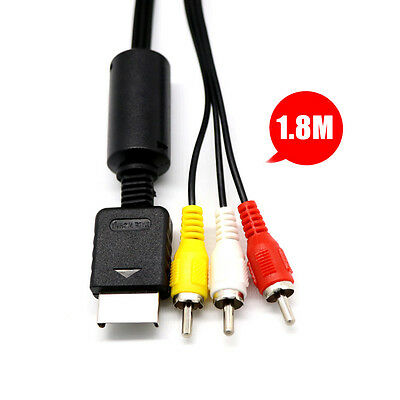 1.8m TV Cable AV Cord for Sony PS1 PS2 PS3 Playstation 1 2 3 Audio Video cable