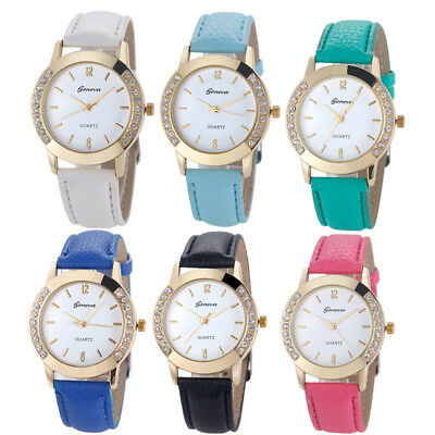 Luxury Fashion Women Diamond Analog Leather Quartz Wrist Watch Watches