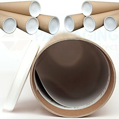 QUALITY CARDBOARD POSTAL TUBES + END CAPS - ALL SIZES A0 A1 A2 A3 A4 x 50mm 2""