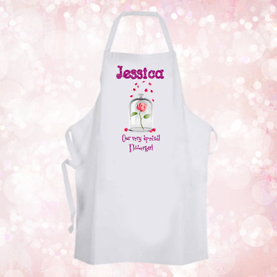 Personalised Glitter Effect Flower Girl Baking Cooking Apron Unique Gift