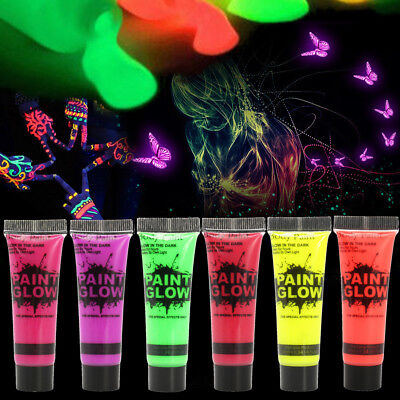 6 Colors 10ml UV Glow Bright Neon Face & Body Paint Fluorescent Party Festival