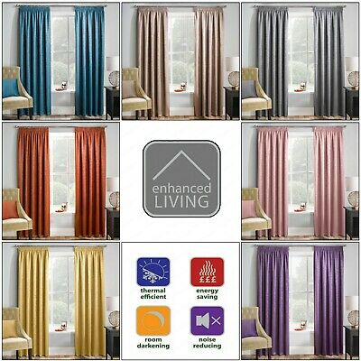 """MATRIX Thermal Woven Blockout Lined Curtains 3"""" Pencil Pleated Headed Tape Top"""