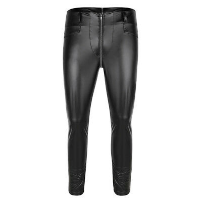Men's Thong Underwear Faux Leather Pouch Pants Long Trousers Night Clubwear