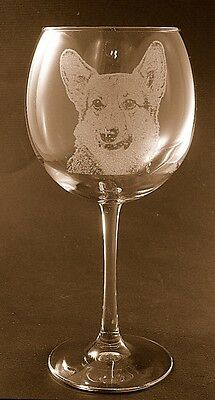 New Etched Pembroke Corgi on Large Elegant Wine Glasses