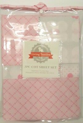 Living Textiles - ADELE - 3 Piece Cot Sheet Set