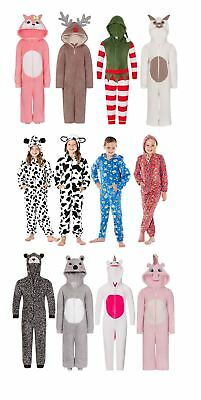 Girls Boys Fleece All In One Piece Jumpsuit Hooded Pyjamas Pajama