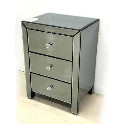 NEW Daniella 3 Drawer Smokey Bedside Table Luxury Mirrors
