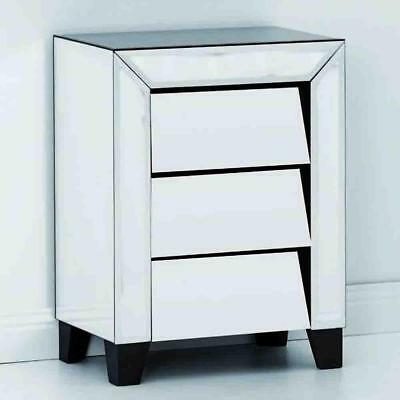 NEW Fleury 3 Drawer Mirrored Bedside Luxury Mirrors
