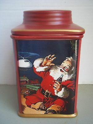 Coca-Cola Christmas Stoneware Canister-- Holiday Portraits--- Santa & Toys--Red