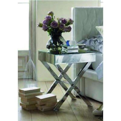 Occitane NEW Side Table Black w/Stainless Steel Legs Antique Luxury Mirrors