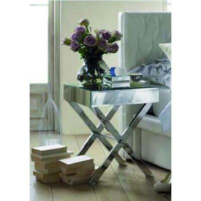 Occitane Side Table NEW Gloss w/Stainless Steel Legs Antique Luxury Mirrors