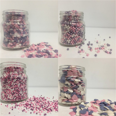 Pink Purple & White MEGA Sprinkles Mix  - Cupcake / Cake Decorations