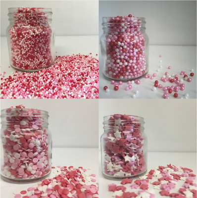 Red Pink & White MEGA Sprinkles Mix  - Cupcake / Cake Decorations