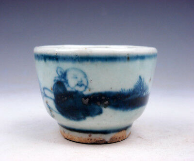 Antique Blue&White Glazed Porcelain Ancient Figurines Hand Painted Cup #10251702