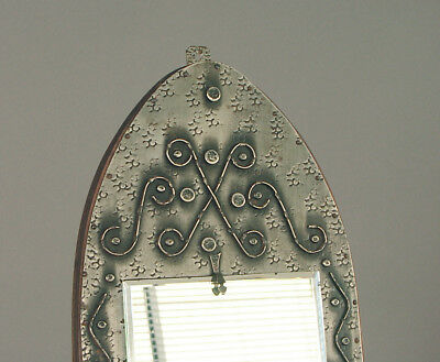 A French Art Deco Era, Vertical, Medieval-Look Wall Mirror, Hand-wrought Metal