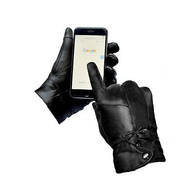 Womens Touch Screen Ladies Gloves Genuine Black Leather Winter Driving Warm Girl