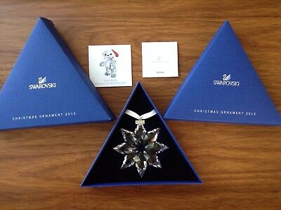 Genuine 2013 Swarovski Large Crystal Snowflake Christmas Ornament Box & Coa
