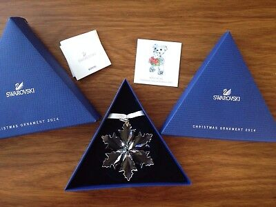 Genuine 2014 Swarovski Large Crystal Snowflake Christmas Ornament Box & Coa