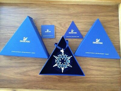 2007 Swarovski Large Crystal Snowflake Christmas Ornament Box Coa Austria