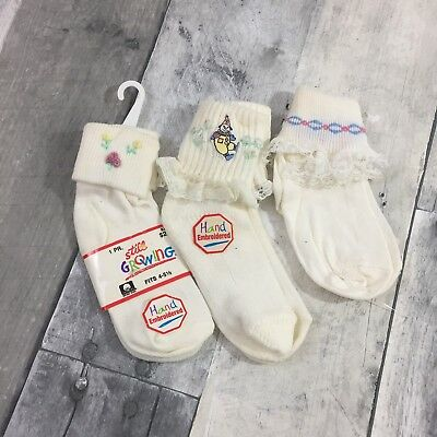 NOS Vintage Girls Socks 3 Pair Ruffled Fold Over White Hand Embroidered Cotton
