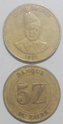 Congo Zaire 5 Zaires 1987 24mm km14 brass coin1pcs