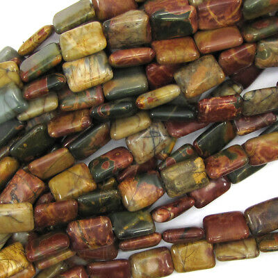 "14mm multicolor picasso jasper rectangle beads 15.5"" strand"