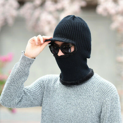 Functional Knit Cap Balaclava Mask Winter Wool Hats Men Women Beanies Thick Mask