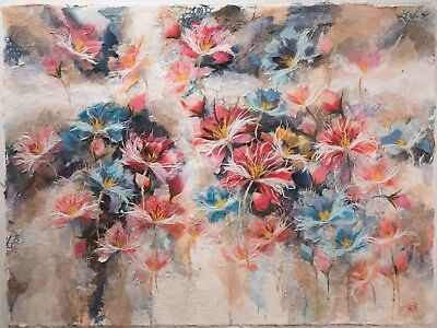Large Chinese Tissue Paper Floral Collage, Signed & Chop Mark, STUNNING!