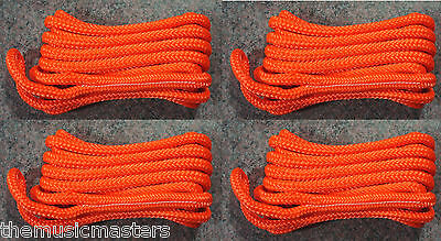 "(4) Orange Double Braided 3/8"" x 15' ft Boat Marine HQ Dock Lines Mooring Ropes"
