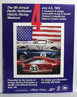 1966 Carroll Shelby Mustang Cobra Ford GT40 Auto Racing Poster SAAC Muscle Car