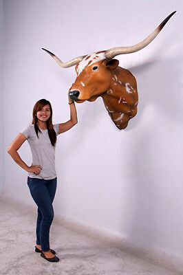 Texas Long Horn Bull Head Wall Mount - Texas Long Horn Head Mount Life Size