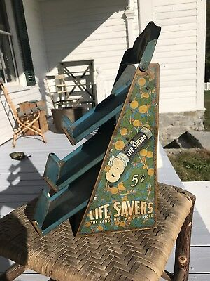 Antique Life Savers Candy Advertising Tin Litho Country Store Counter Display 5s