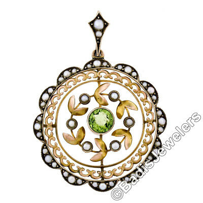 Antique Victorian 9K Yellow Gold 0.65ct Peridot & Pearl Round Open Disc Pendant