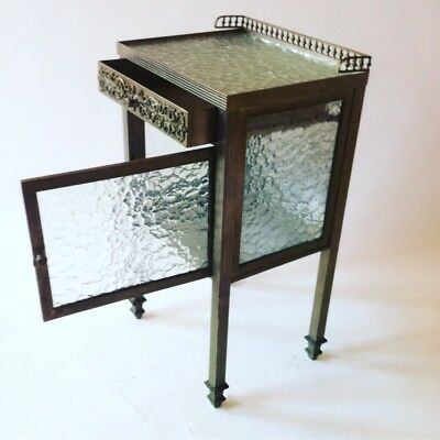 Antique 1930s Art Deco Brass on Nickel Glass & Glass on tp Side Bed Table