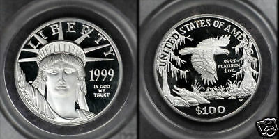 RARE LOW POP 1999-W 1 Oz PCGS $100 PR70DCAM PLATINUM