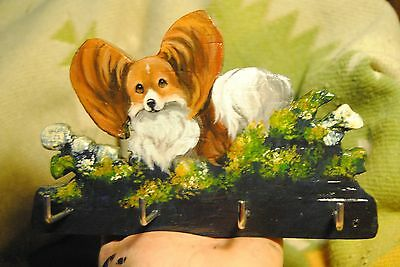 Original Painting~Papillon~Dog~Carving~Hook~Key~Jewelry~Leash Hanger~Whimsical~