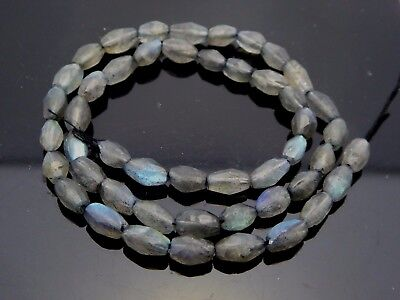"Natural Gray Labradorite Flash Schiller Faceted Oval Gemstone Beads 14.5"" Strand"