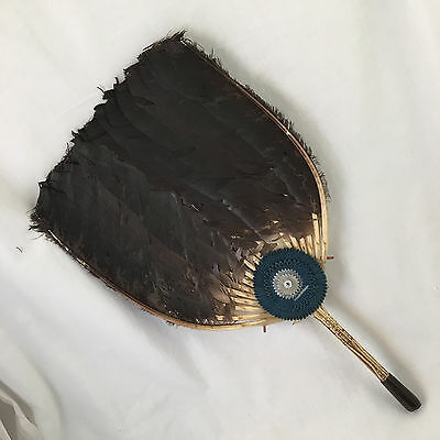 Antique QING Dynasty Feather Fan Chinese Pien Mien Iridescent Gray Duck Vintage