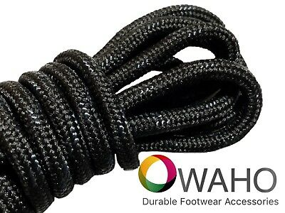 Heavy Duty Black Shoe / Boot Laces Reinforced with Black Dupont™ Kevlar®