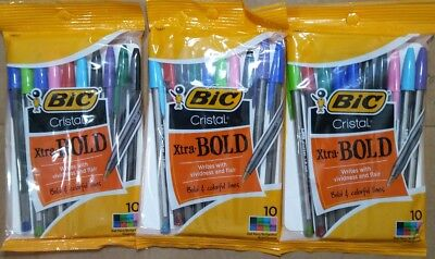 Lot of 3 Bic Cristal Xtra-Bold 1.6mm 10 Pack Pens Assorted Colors 30 Pens Total