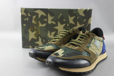 Valentino Size 11 Rockrunner Green/Red Camouflage & Stars Sneakers w/ Box