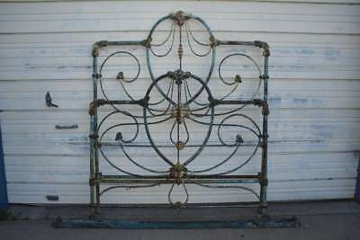 Fancy Decorative Antique Cast Iron Bed With Chippy Old Blue Paint