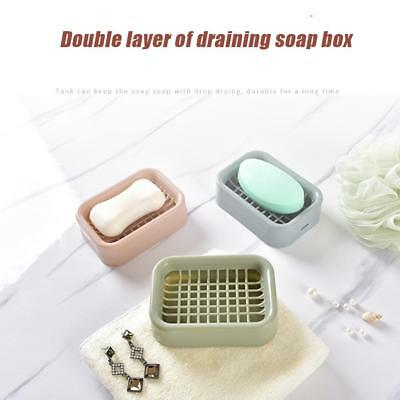 Soap Dish Case Holder Container Box Travel Carry Case Double Gridding Draining
