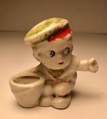 Antique Early Bisque Baby With Pail