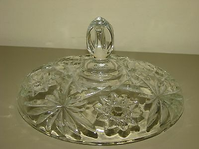"""Vtg Anchor Hocking Prescut EAPC Star of David 7"""" Glass Large Candy Dish LID only"""