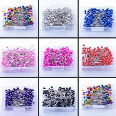 400PCS New Pearlized Bead Pins Rosette Craft Dress Maker Sewing Scarf Needlework