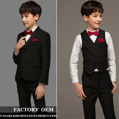 880cedb10a63 Black Boy Wedding Suit Slim Fit Child Formal Birthday Dinner s Prom Kids  Tuxedos