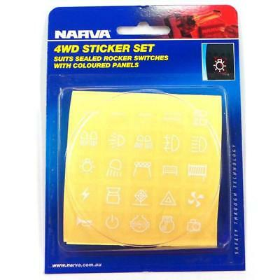 Narva White 4wd Sticker Set suits Coloured Rocker Switches