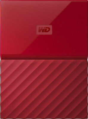 WD - My Passport 1TB External USB 3.0 Portable Hard Drive - Red