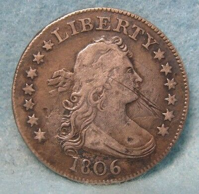 1806 Draped Bust Silver Quarter Solid VF Details Tough Early Date! US Coin #1405